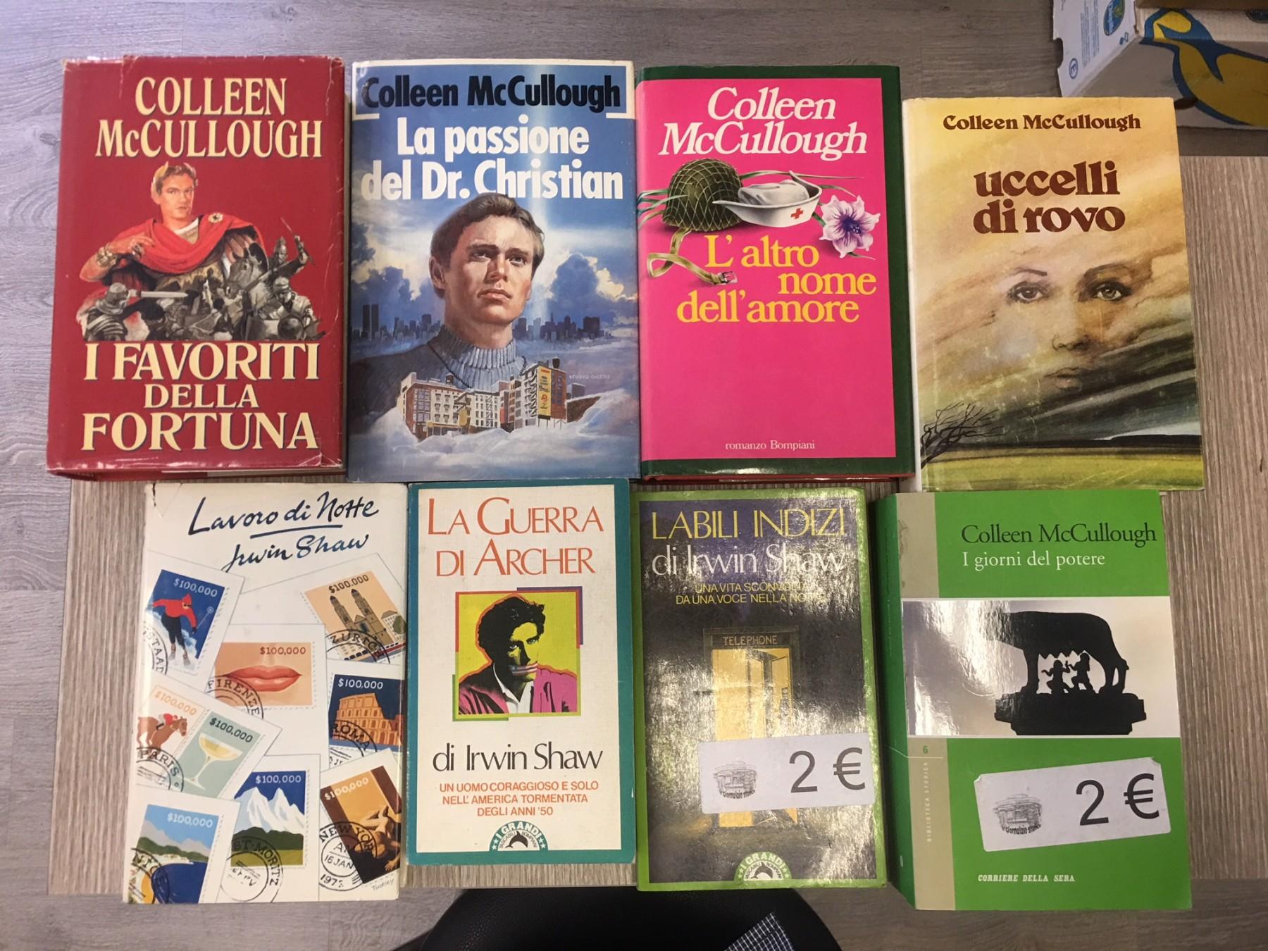 Lotto stock 8 libri Irwin Shaw e Colleen McCullough a 0,90