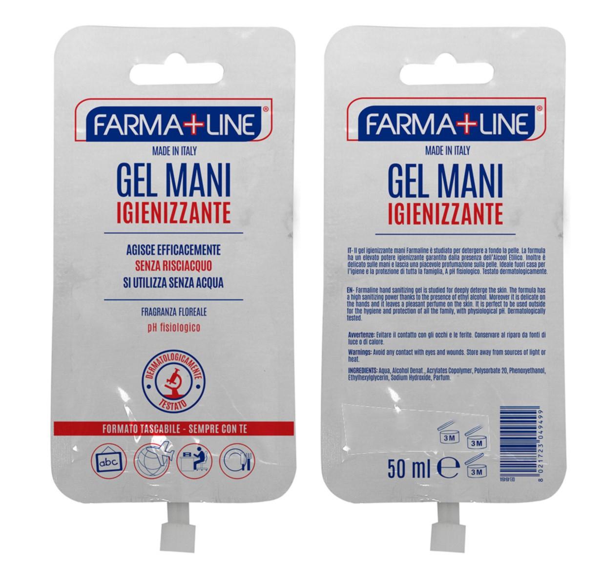 FARMALINE 50 ML gel Liquido Mani Tascabile con tappino apri e chiudi